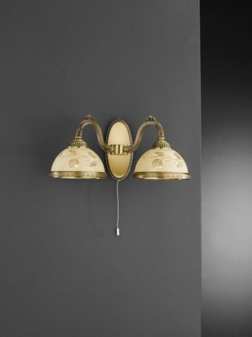2 lights brass wall sconce with cream glass