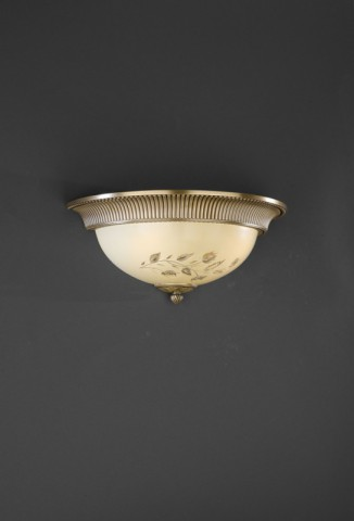Brass and cream engraved glass wall sconce