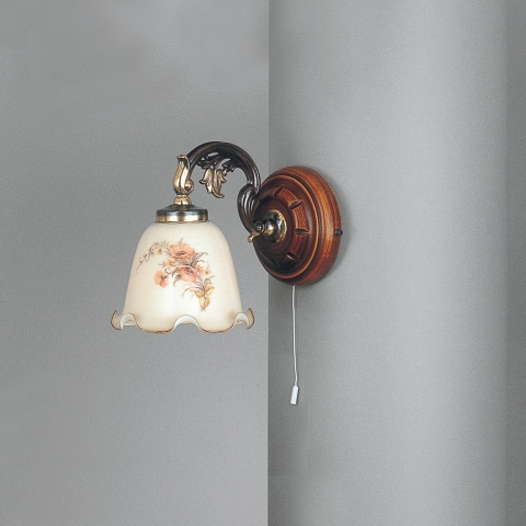 Brass and wood sconce with ivory blown glass 1 light facing down