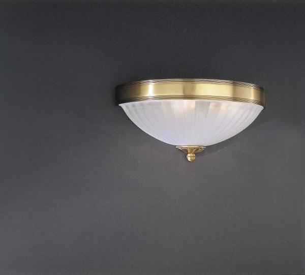 Applique classica in ottone a vaschetta con vetro satinato 2 luci reccagni store - Parete in vetro satinato ...