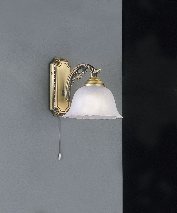 Brass wall sconce with frosted glass 1 light facing down