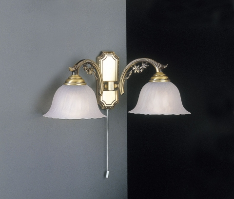 Brass wall sconce with frosted glass 2 lights facing down