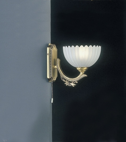 Brass wall sconce with frosted glass 1 light facing upward