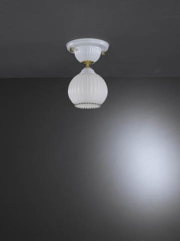 Traditional ceiling light with white blown glass
