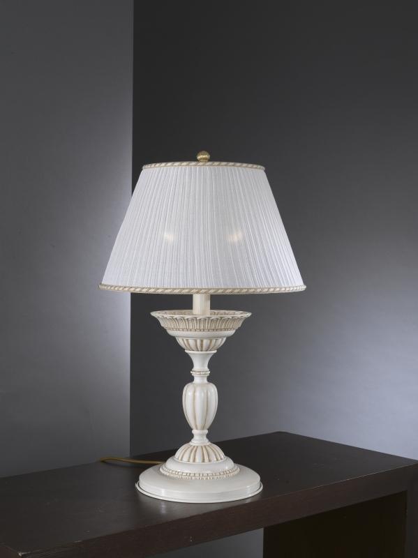 Lampada Da Tavolo In Ottone Bianco Antico Con Paralume Reccagni Store