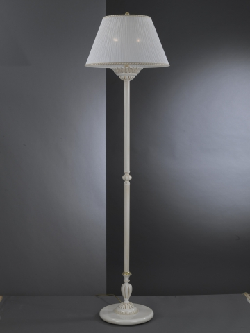 Brass floor lamp with fabric lamp shade