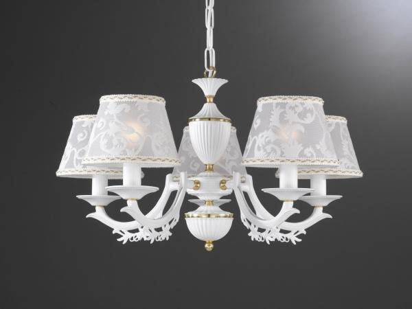 Lampadario in ottone bianco opaco con paralumi a 5 luci
