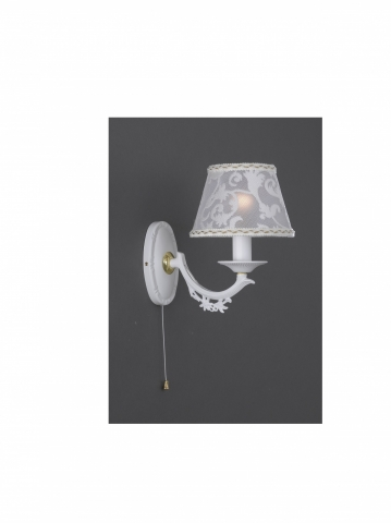 Small matt white iron brass bedside lamp with lamp shade reccagni 1 light matt white iron brass wall sconce with lamp shades aloadofball Gallery
