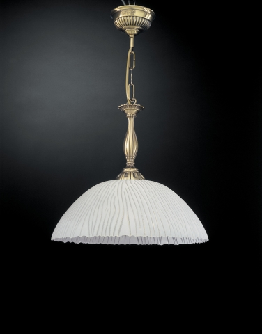 Brass pendant light with white striped blown glass 1 light 38 cm