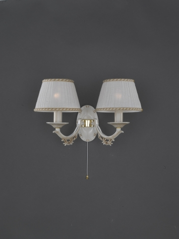 Two Lights Old White Br Wall Sconce With Lamp Shades