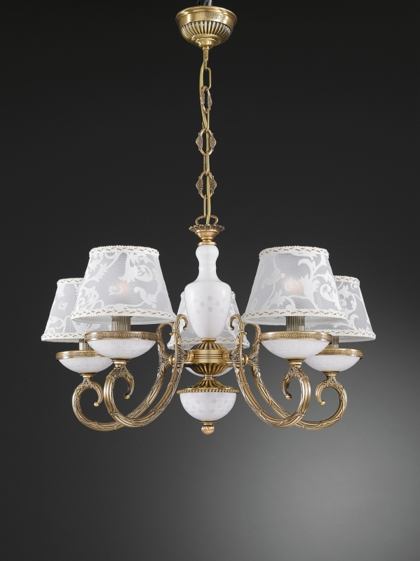 5 lights solid brass chandelier  with decorated