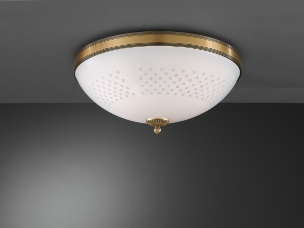 Brass ceiling light with decorated