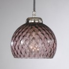 Lampada a sospensione a tre luci, finitura Nichel, vetro soffiato colore Ametista. B.10006/3