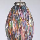Lampada a sospensione ad una luce, finitura Nichel, vetro soffiato multi colore Murrina  L.10009/1