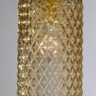 Lampada a sospensione a tre luci in ottone, finitura Oro satinato, vetro soffiato colore bronzo. B.10030/3