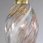 Lampada a sospensione ad una luce, in ottone, finitura Oro satinato, vetro soffiato multi colore Murrina  L.10034/1