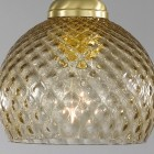 Lampada da comodino, in ottone, finitura Oro satinato, vetro soffiato colore bronzo  P.10032/1